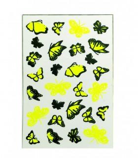 لنز ناخن مدل پروانه شبرنگ فسفری (بلک لایت)