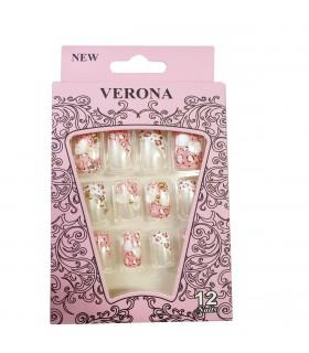 ناخن مصنوعی ژله ای بزرگسال Verona طرح نگین دار شماره 1