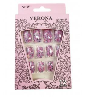 ناخن مصنوعی ژله ای بزرگسال Verona طرح پولکی شماره 5