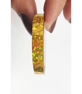 نوار طراحی ناخن پهن زیگزاگ طلایی با دست