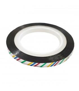 نوار طراحی ناخن متوسط رنگی خط دار