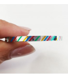 نوار طراحی ناخن متوسط رنگی خط دار نزدیک
