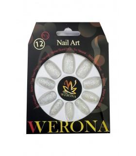 ناخن مصنوعی بزرگسال Verona طرح اکلیلی نقرهای