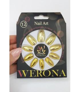 ناخن مصنوعی بزرگسال Verona طرح آیینه ای طلایی