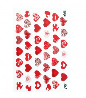 لنز ناخن مدل قلب قرمز