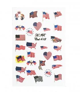 لنز ناخن مدل پرچم آمریکا